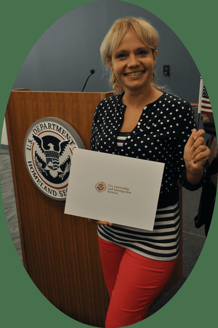 AL Diane receiving US citizenship